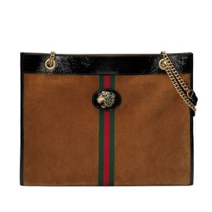 New GUCCI Rajah Large Tote Coco Suede